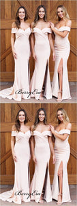 Off The Shoulder Bridesmaid Dresses, Mermaid Slit Bridesmaid Dresses