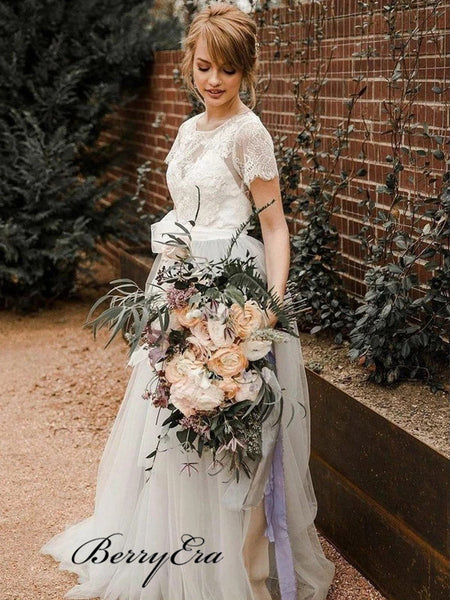 A-line Tulle Wedding Dresses, Popular Lace Wedding Dresses