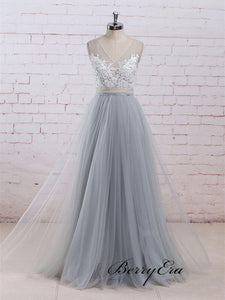 Elegant Lace A-line Tulle Prom Dresses, Popular Prom Dresses, Evening Party Prom Dresses