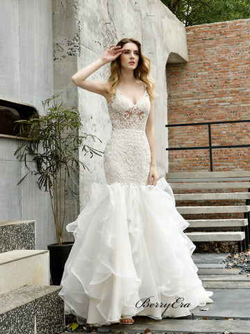 High Fashion Fluffy Wedding Dresses, Lace Mermaid Unique Wedding Dresses 2020