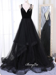 A-line Long Tulle Prom Dresses, Black School Graduation Prom Dresses, 2020 Prom Dresses