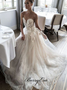 Strapless Tulle A-line Long Wedding Dresses, Sweetheart Appliques Wedding Dresses