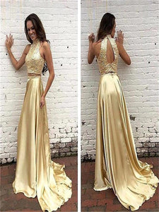 Two Piece Top Beaded Long A-Line Prom Dresses, Sparkly Halter Sleeveless Prom Dresses