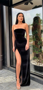 Simple Long Prom Dresses, Strapless Prom Dresses, Evening Party Prom Dresses