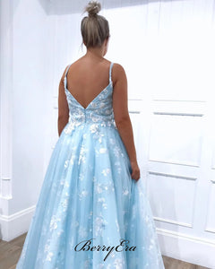 Light Blue A-line Lace Prom Dresses, Appliques Elegant Long Prom Dresses