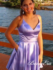 Lalic Satin Homecoming Dresses, Short Prom Dresses, Homecoming Dresses