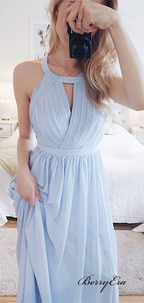 Halter Unique Design Long Prom Dresses, Light Blue Chiffon Evening Party Prom Dresses