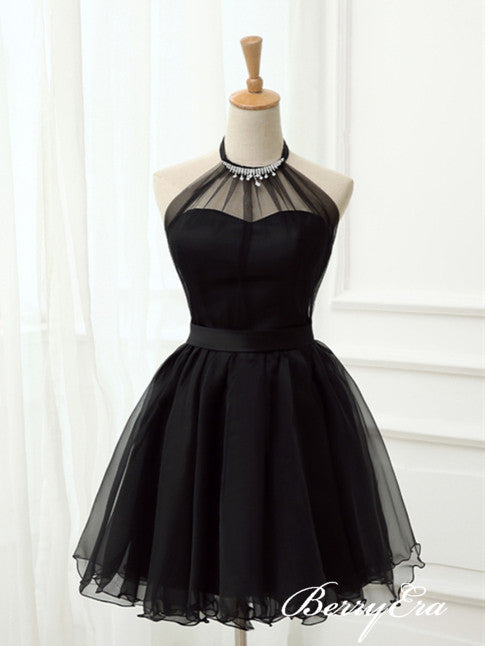 Simple Halter Black Tulle Homecoming Dresses, Little Black Dresses