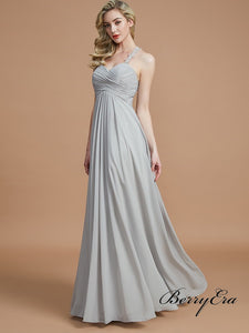 Lace Straps A-line Grey Chiffon Long Bridesmaid Dresses