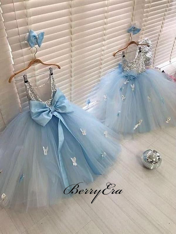 Sequins A-line Princess Wedding Tulle Flower Girl Dresses
