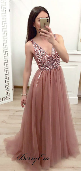 Tulle Beaded Long A-line Prom Dresses, School Party Prom Dresses