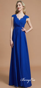V-neck Cap Sleeves Royal Blue Chiffon Lace Bridesmaid Dresses