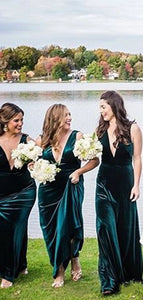 Deep V-neck Long Bridesmaid Dresses, Simple 2020 Bridesmaid Dresses
