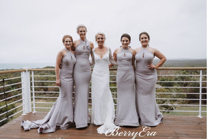 Halter Long Mermaid Grey Bridesmaid Dresses