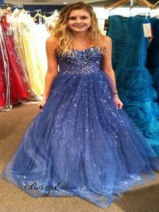 Modest Sparkly Sequins Long Prom Dresses Bling A-Line Prom Dresses