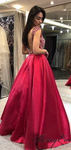 Beaded Satin Long A-line Prom Dresses, Popular Prom Dresses 2019