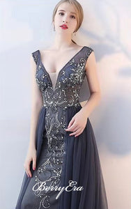 V-neck Dark Grey Rhinestone Beaded Tulle Prom Dresses, Popular Prom Dresses