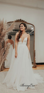 A-line Tulle Simple Wedding Dresses, Straps V-neck Wedding Dresses