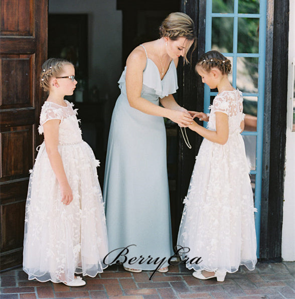 Cap Sleeves A-line Lace Tulle Flower Girl Dresses, Little Girl Dresses