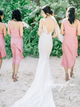 Romantic Short Beach Wedding Elastic Satin Bridesmaid Dresses