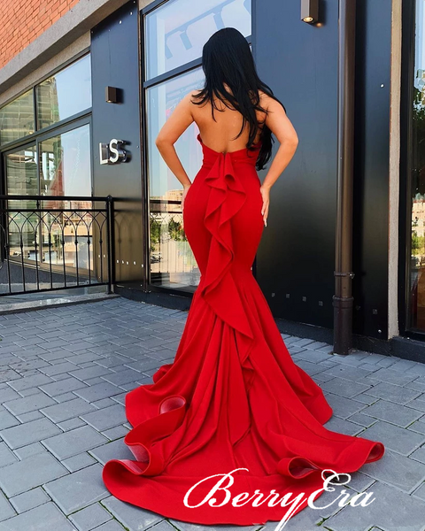 Red Long Mermaid Jersey Prom Dresses, Ruffled Long Prom Dresses, Popular Prom Dresses
