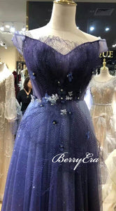 Off Shoulder Blue Sequin Gradient Tulle Prom Dresses, Shiny Prom Dresses, Appliques Prom Dresses
