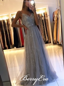 Spaghetti Long A-line Grey Lace Beaded Prom Dresses, Shiny Sequin Prom Dresses, 2020 Prom Dresses