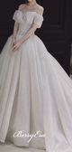 Off Shoulder Shiny Sequin Tulle Wedding Dresses, Ball Gown Wedding Dresses, Long Wedding Dresses
