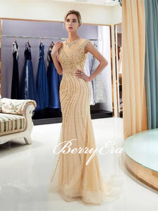 Luxury Champagne Gold Beaded Long Mermaid Sparkle 2020 Prom Dresses, New Arival Prom Dresses