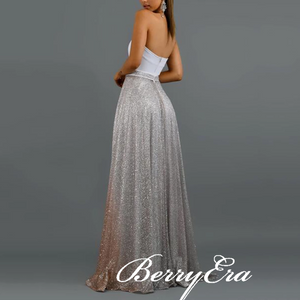 Sweetheart Long A-line Gradient Sequin Prom Dresses, Silver-Champagne Gold Prom Dresses, 2020 Prom Dresses