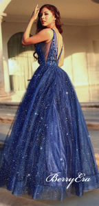 V-neck Long A-line Sequin Tulle Prom Dresses, Rhinestone Beaded Prom Dresses, Shiny Prom Dresses