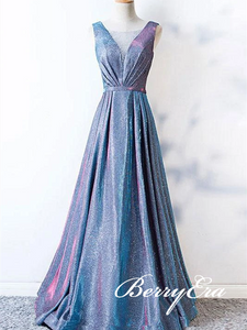 V-neck Long A-line Shemmering Fabric Prom Dresses, Long Prom Dresses, 2020 Prom Dresses