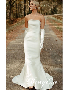 Strapless Long Mermaid Ivory Satin Wedding Gown With Gloves, Simple Elegant Wedding Dresses