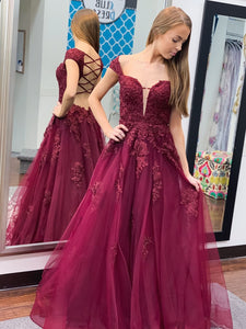 Off Shoulder Long A-line Burgundy Lace Tulle Prom Dresses, Appliques Long Prom Dresses, 2020 Prom Dresses