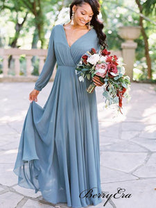 Long Sleeves V-neck Bridesmaid Dresses, Chiffon A-line Bridesmaid Dresses