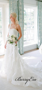 Graceful Strapless Wedding Dresses, Lace Appliques Elegant Wedding Dresses