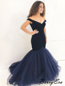 Modest Velvet Mermaid Prom Dresses, Off The Shoulder Princess Prom Dresses