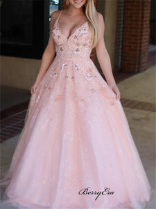 Spaghetti V-neck Lace Prom Dresses, 2020 Newest Appliques Prom Dresses Long