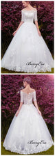 Mid Sleeves A-line Bridal Gowns, Lace Wedding Dresses, New Trend Wedding Dresses 2019