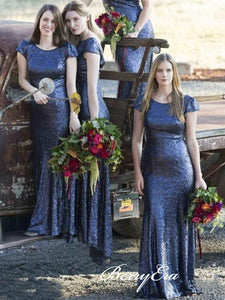 Cap Sleeves Sequins Bridesmaid Dresses, Mermaid Bridesmaid Dresses