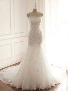 Strapless Long Mermaid Lace Appliques Wedding Dresses