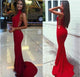 High Neck Long Mermaid Jersey Prom Dresses, Cheap Prom Dresses