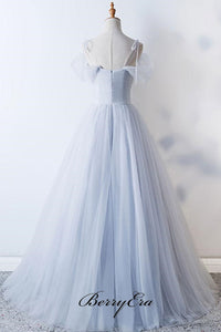 A-line Tulle Grey Wedding Dresses, Off The Shoulder Wedding Dresses, Beaded Wedding Dresses