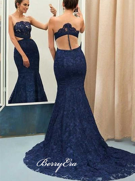 Sweetheart Unique Prom Dresses, Sexy Mermaid Lace Popular Prom Dresses