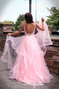 2020 Pink A-line Long Prom Dresses, Beaded Newest Prom Dresses