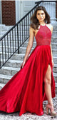 Halter Red Beaded Long A-line Side Slit Prom Dresses