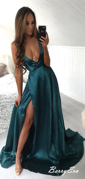 Dark Green Deep V neck Prom Dresses, Simple Sexy Design Prom Dresses