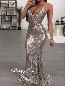 Spaghetti Strap Sexy Sequins Prom Dresses, Party Mermaid Prom Dresses