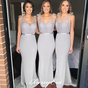 Lovely Long Mermaid Light Grey Bridesmaid Dresses