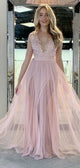 V-neck Blush Pink Lace Tulle Prom Dresses